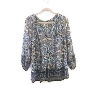 JOIE Gloria Tabitha Silk Boho Sheer peasant blouse